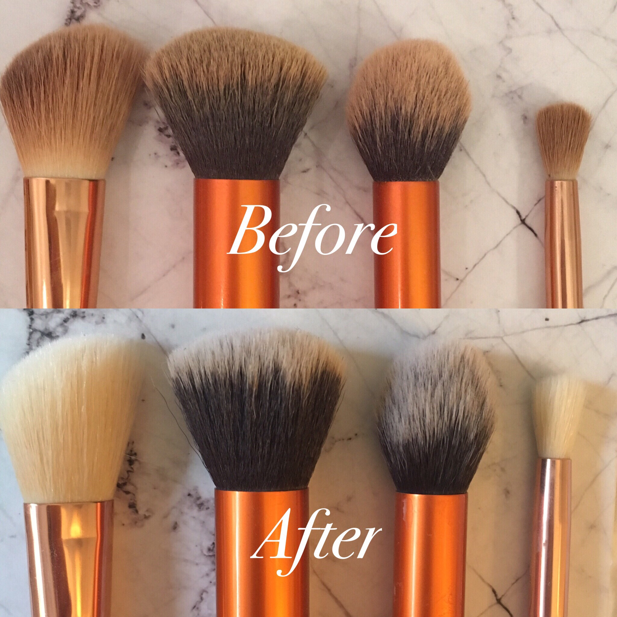 before and after picture of makeup brushes being cleaned
