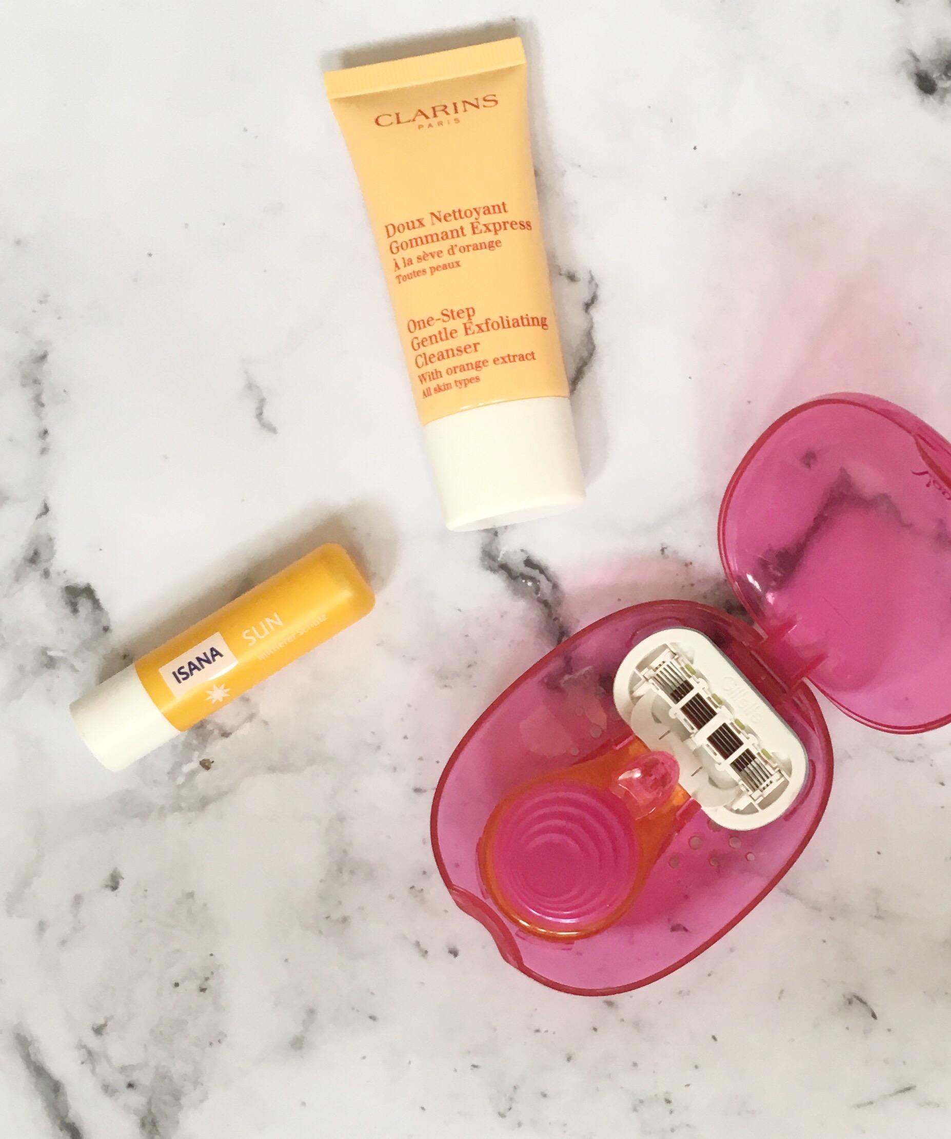 Clarins Gentle Exfoliating Cleanser, lip suncream and Venus Snap razor