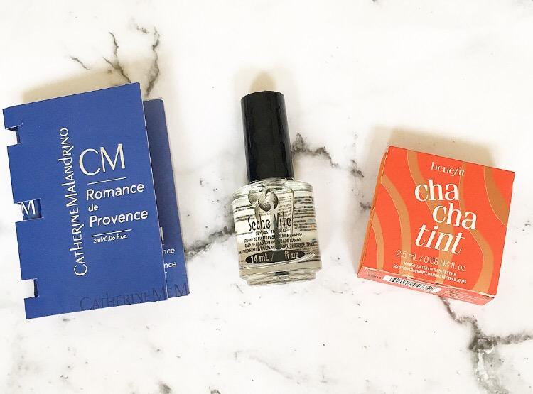 birchbox july 2017 perfume, clear nail varnish and benefit cha cha tint