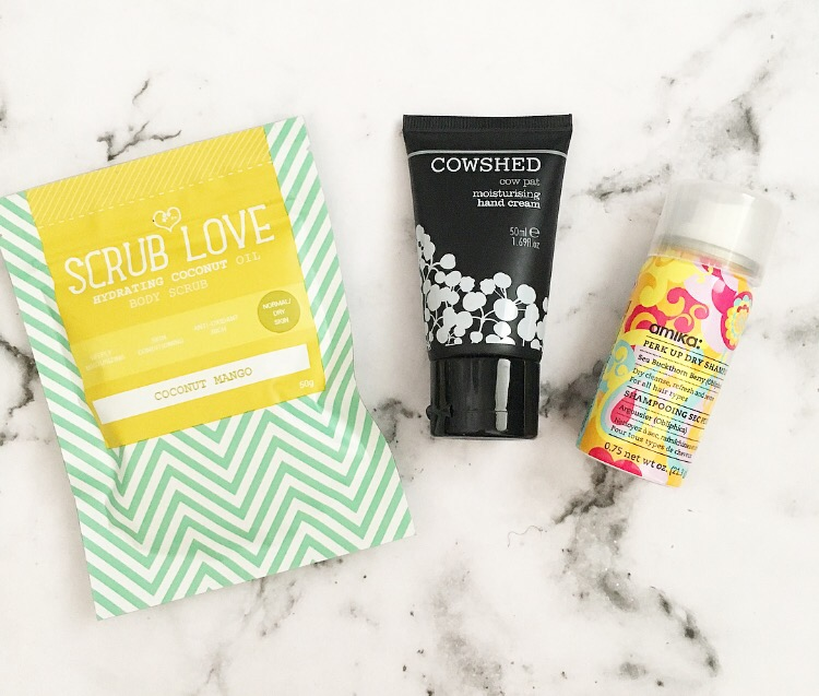 scrub love coconut body scrub, cowshed hand cream and dry shampoo