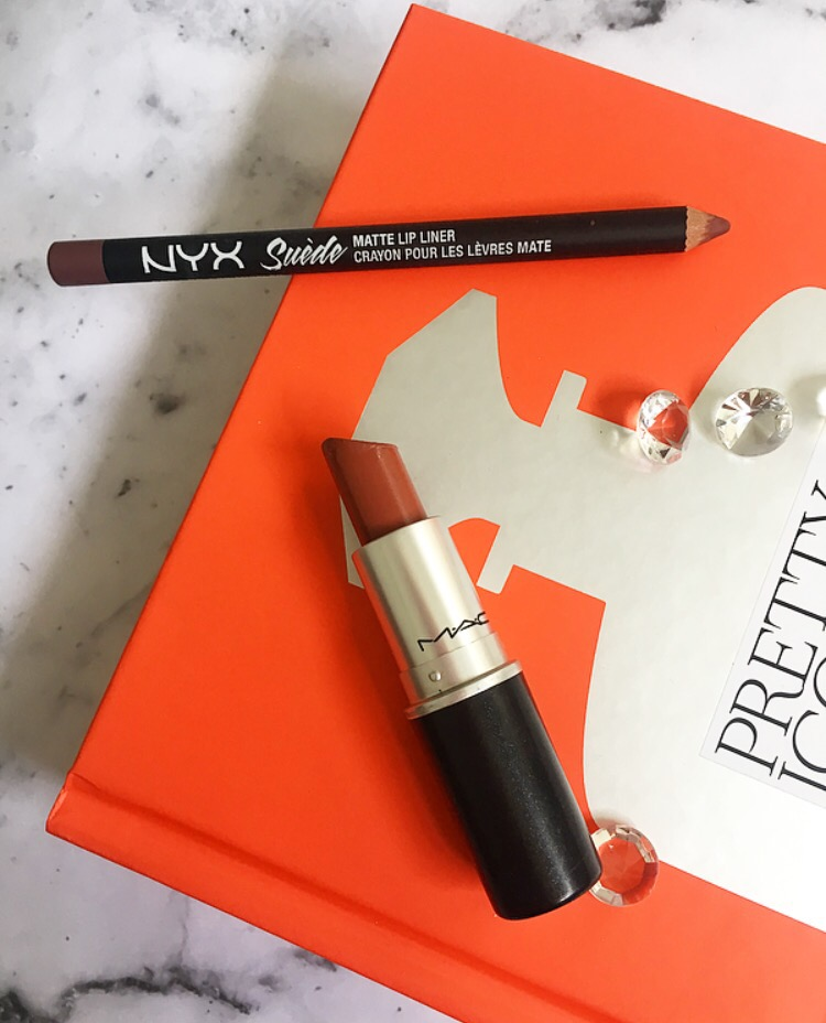 NYX Suede Lip Liner in Los Angeles and MAC Whirl Lipstick