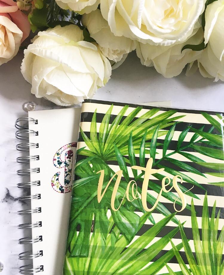 leaf print notebook