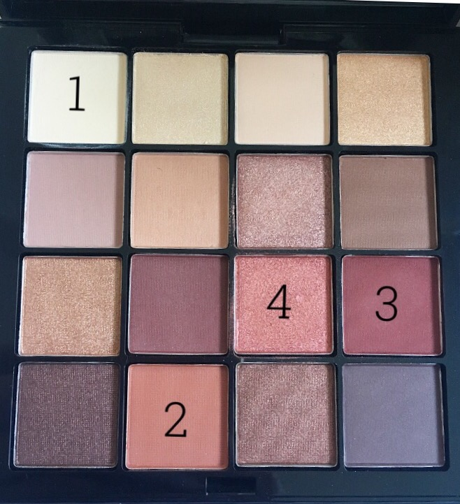 colour swatches of NYX Warm Neutrals eyeshadow palette