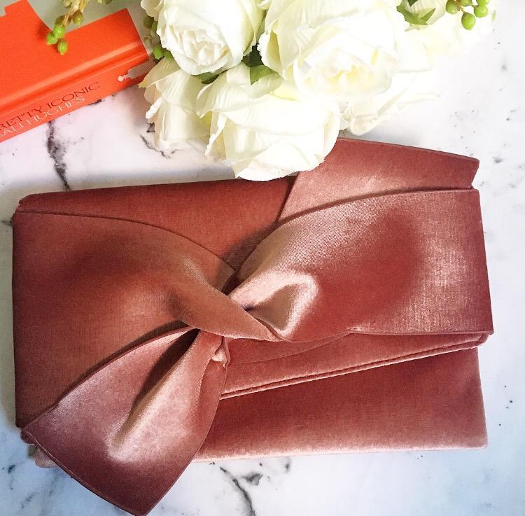Primark blush pink velvet clutch bag