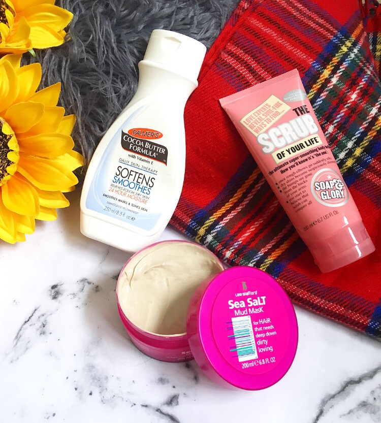 Palmers Cocoa Butter Daily Moisteriser, Lee Stafford Sea Salt Mud Mask & Soap & Glory Scrub of Your Life Exfoliating Scrub