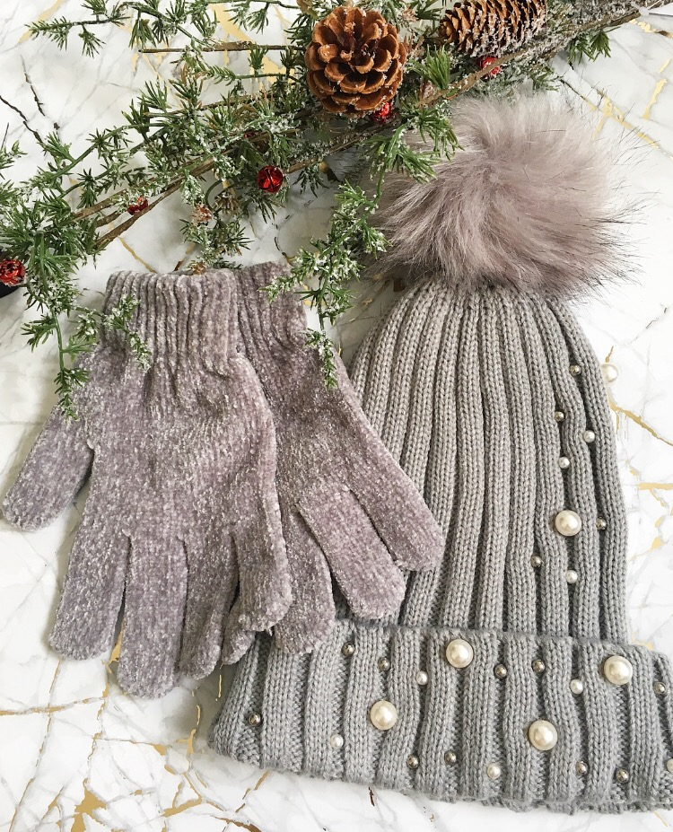 Primark grey bobble hat with pearl details and chenille grey gloves